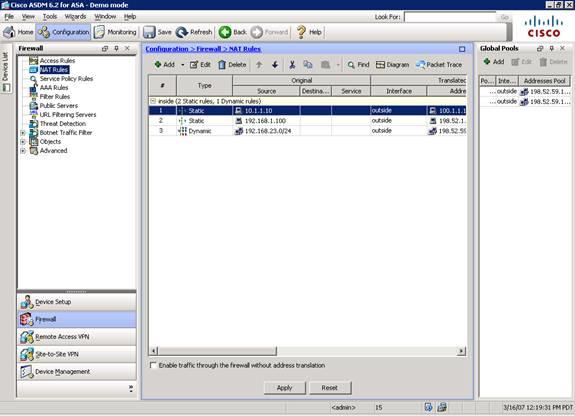 Cisco asa allow ping outside interface asdm