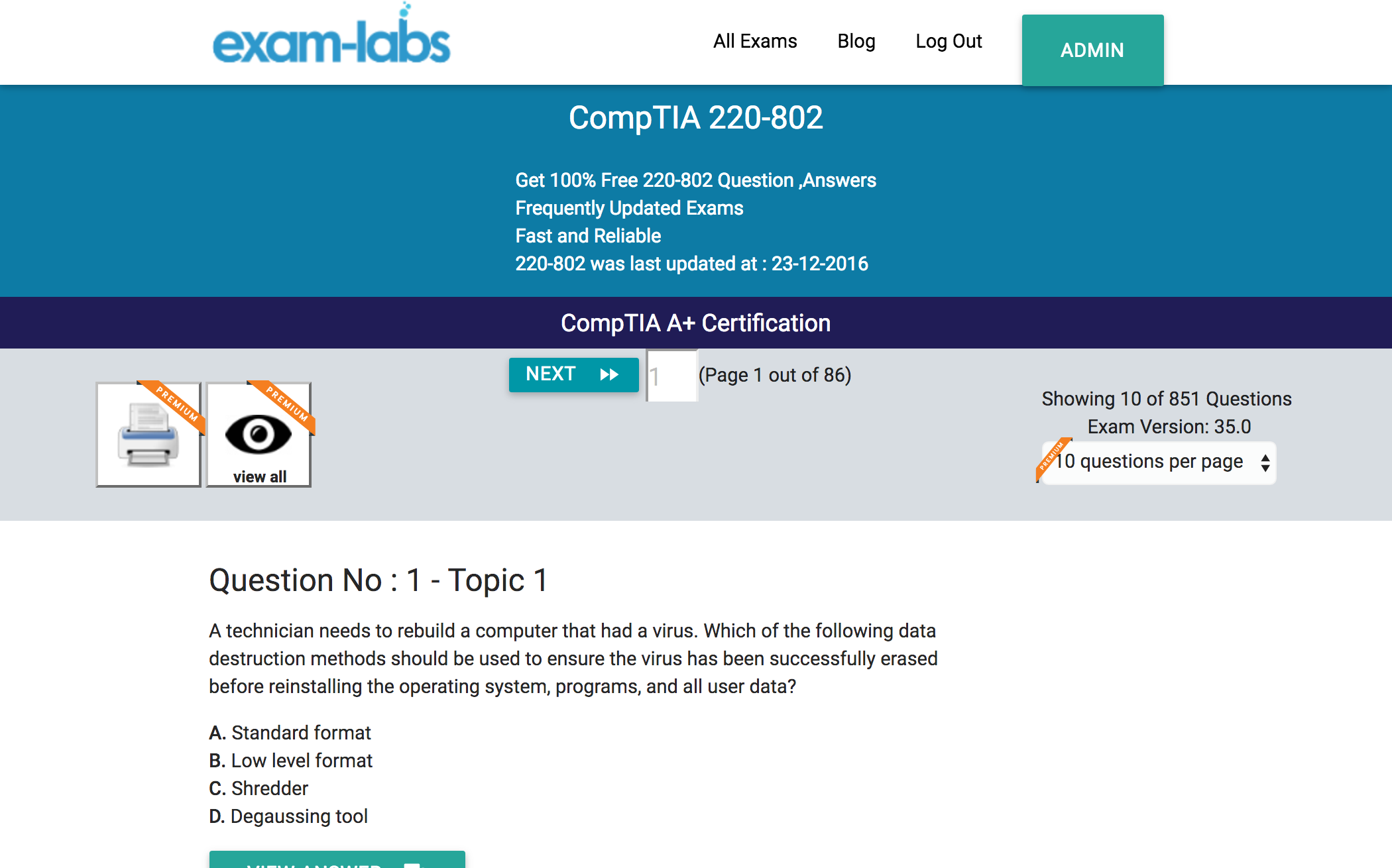 comptia real exam questions % exam labs comptia 220 802 comptia a certification exam