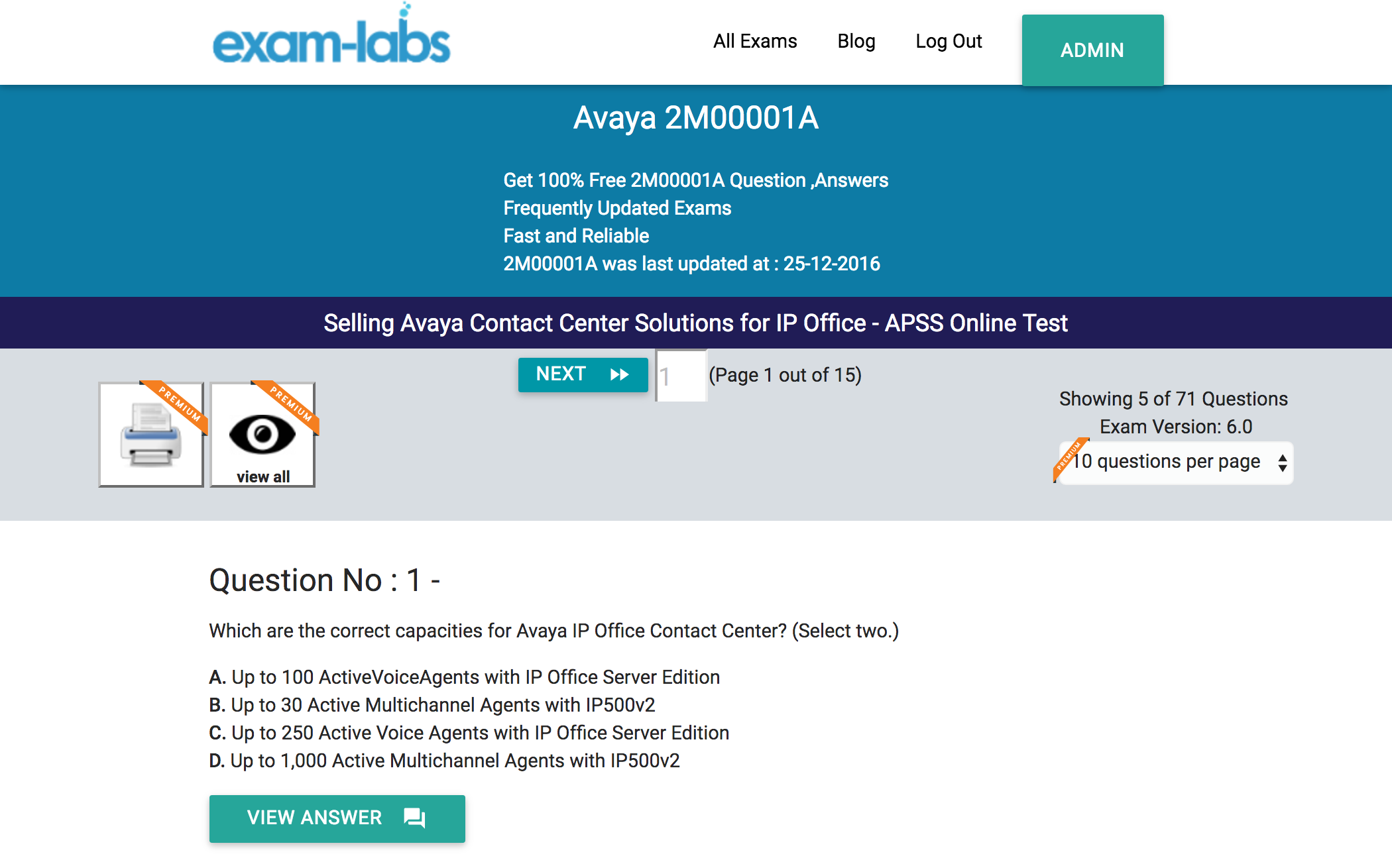 office test. Avaya 2M00001A Selling Contact Center Solutions For IP Office - APSS Online Test Exam