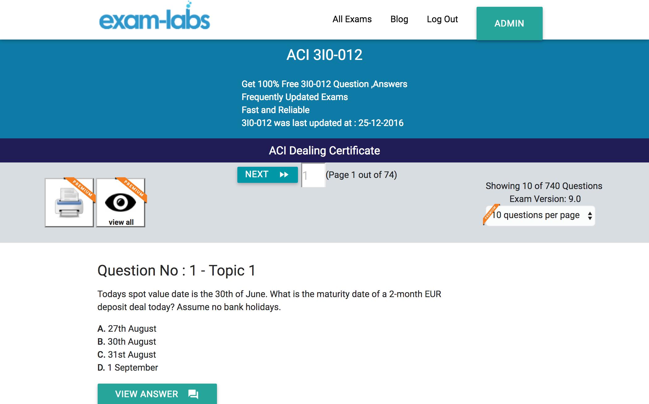 3I0-012 ACI Dealing Certificate Exam Exam Training