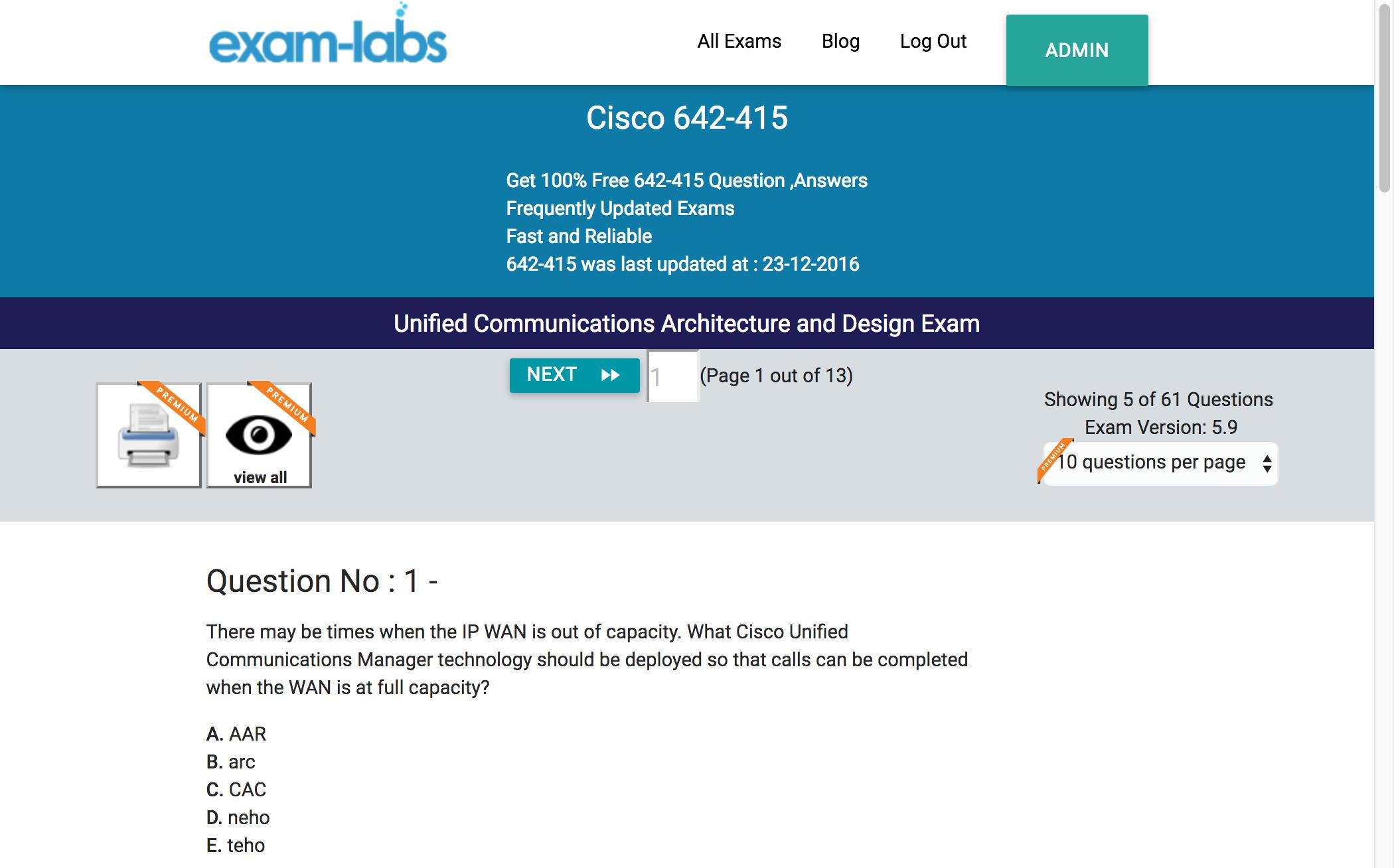 Architecture Design Exam 642-415 - cisco real exam questions - 100% free | exam-labs