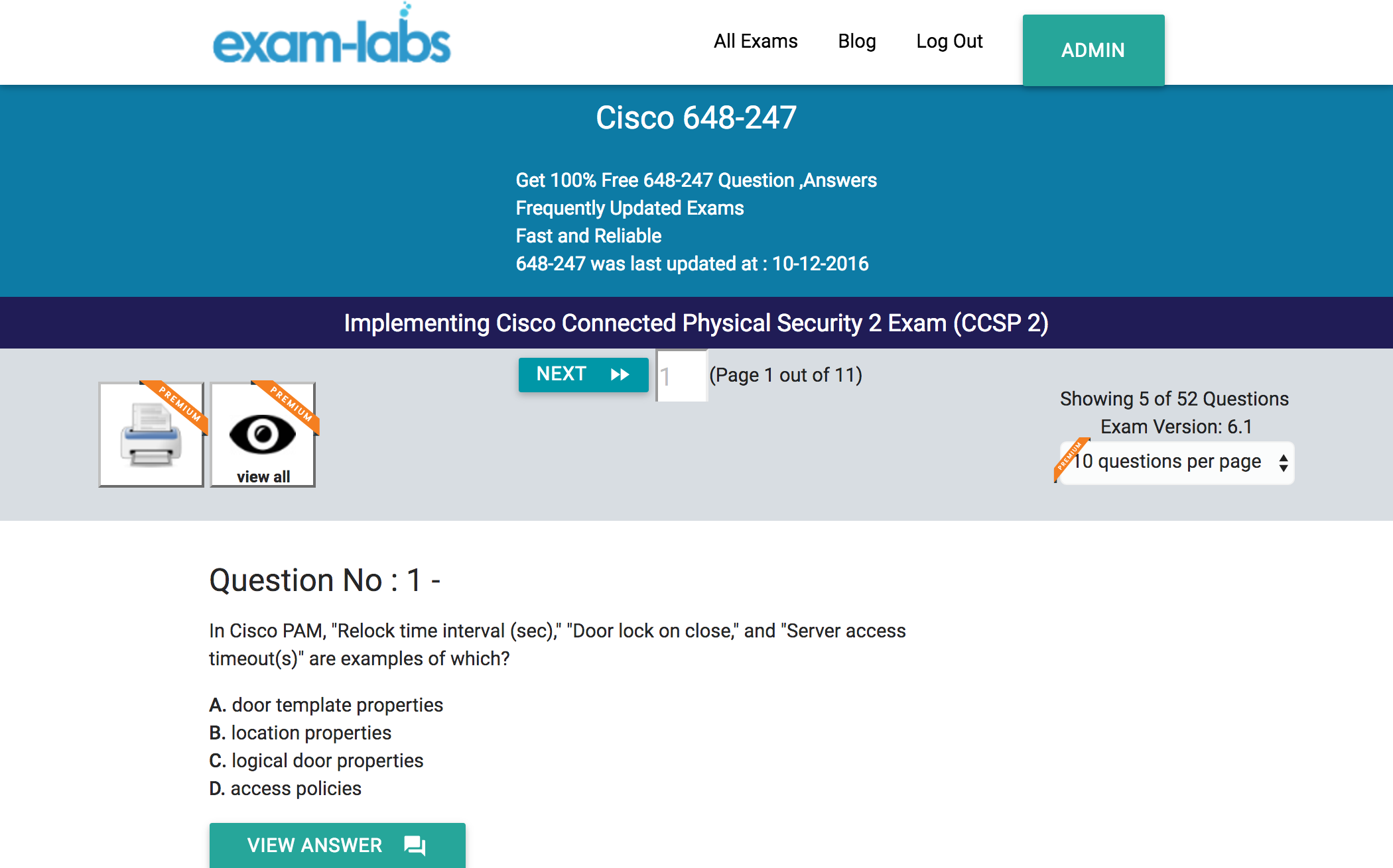 648 247 cisco real exam questions 100 free exam labs cisco 648 247 implementing cisco connected physical security 2 exam ccsp 2 exam xflitez Gallery