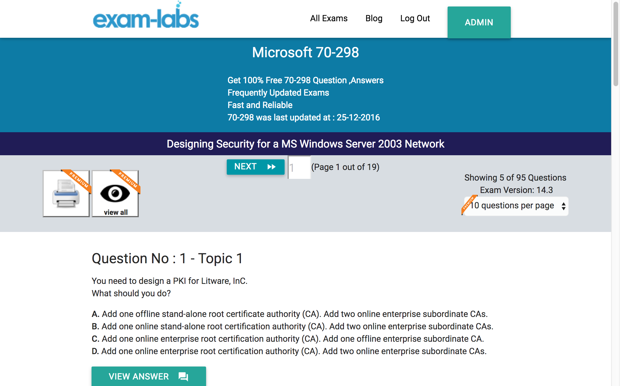 70 298 microsoft practice exam questions 100 free exam labs microsoft 70 298 designing security for a ms windows server 2003 network exam 1betcityfo Image collections