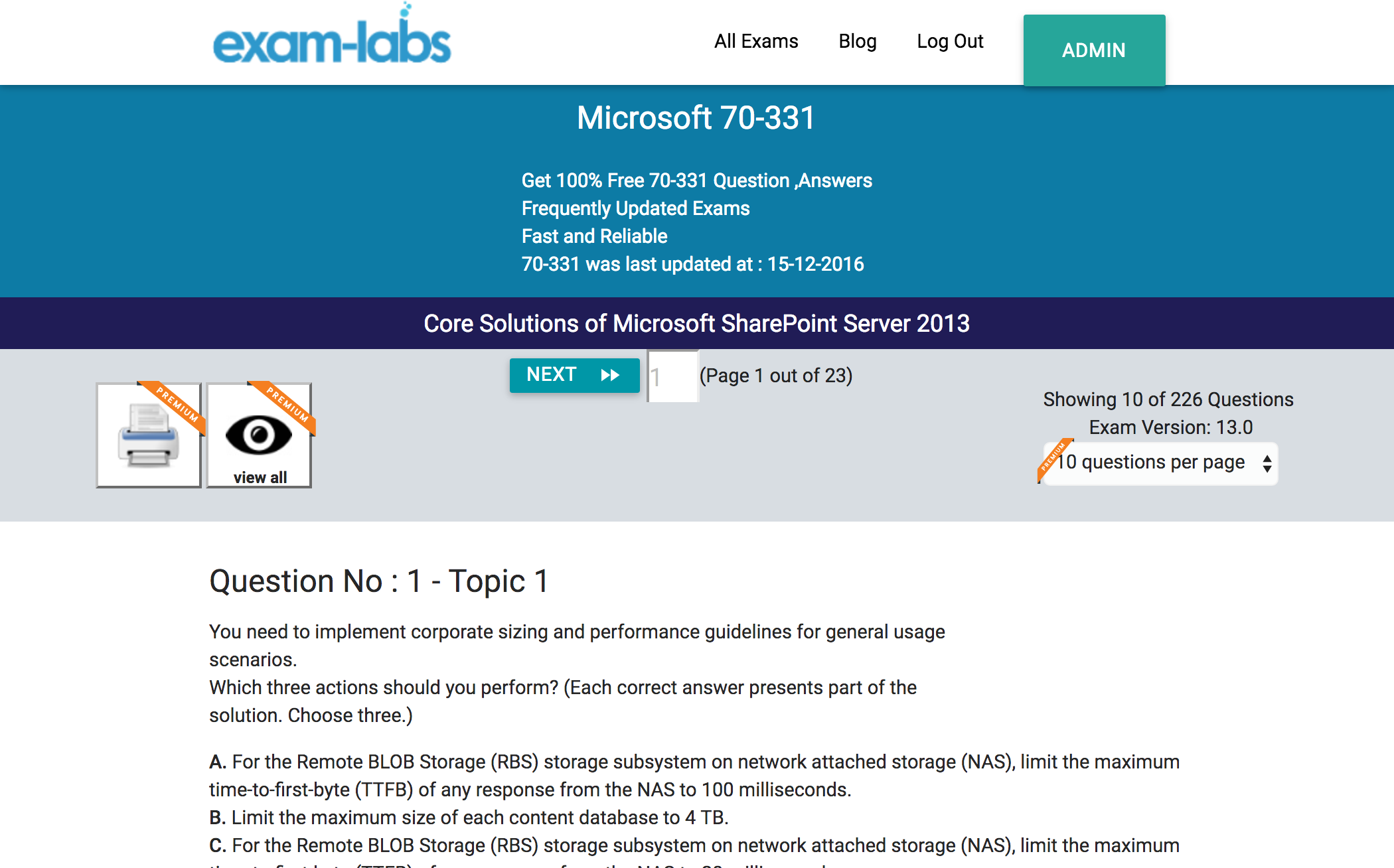 70 331 microsoft practice exam questions 100 free exam labs microsoft 70 331 core solutions of microsoft sharepoint server 2013 exam 1betcityfo Choice Image