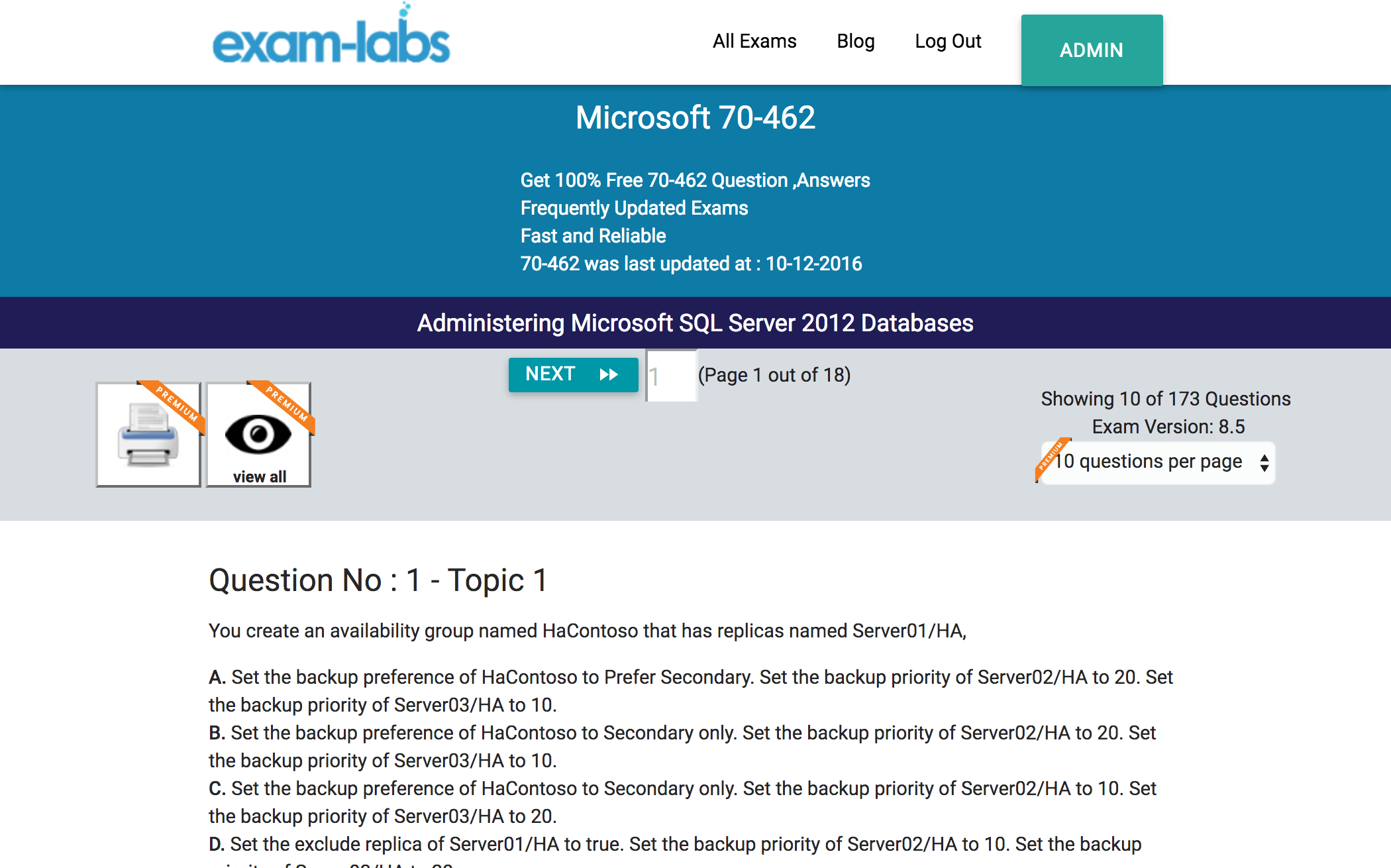 70 462 microsoft practice exam questions 100 free exam labs microsoft 70 462 administering microsoft sql server 2012 databases exam xflitez Gallery