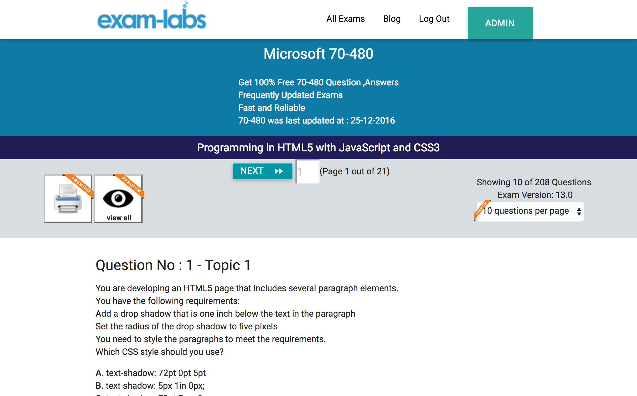 70 480 microsoft practice exam questions 100 free exam labs microsoft 70 480 programming in html5 with javascript and css3 exam 1betcityfo Images