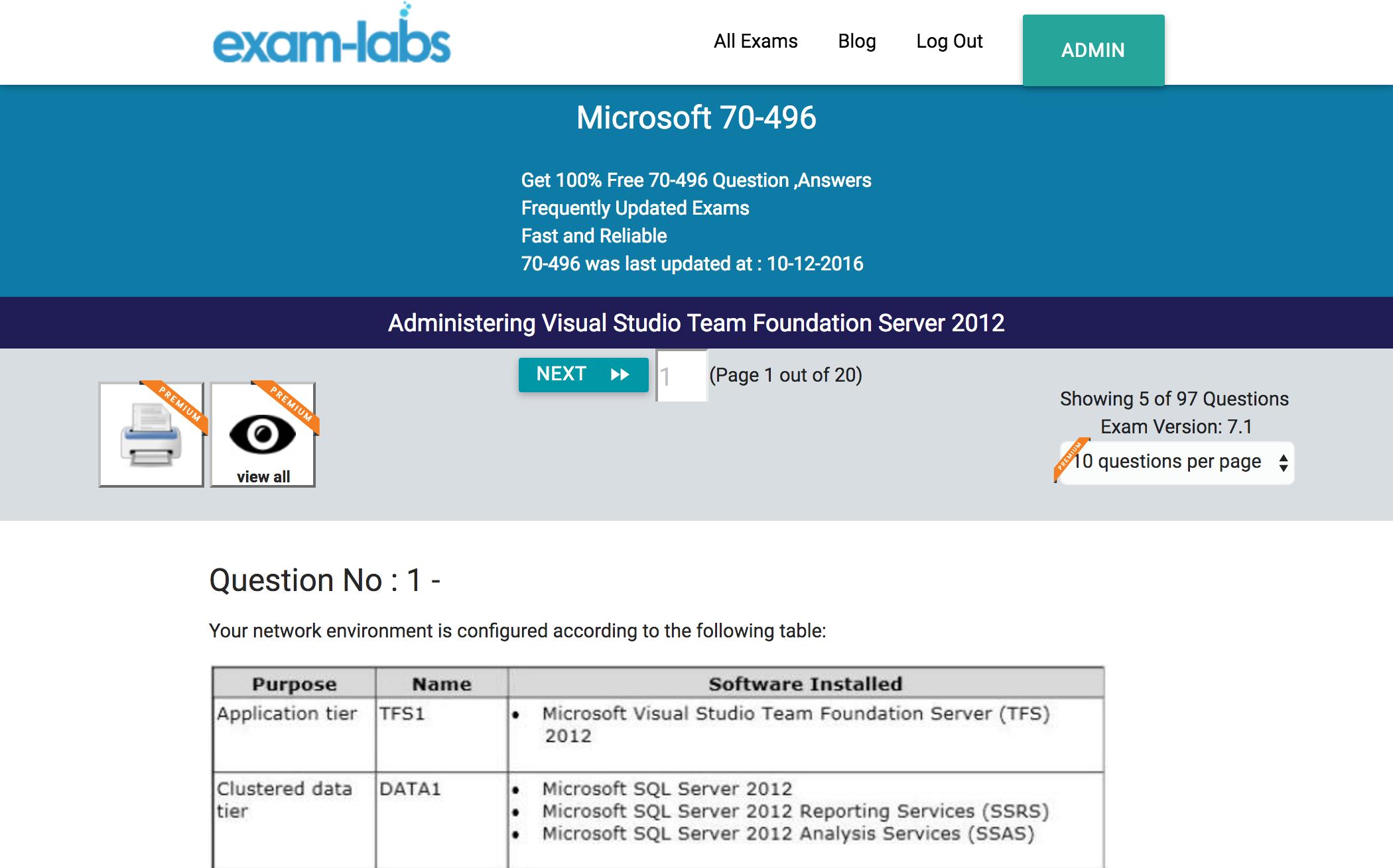 70 496 microsoft real exam questions 100 free exam labs microsoft 70 496 administering visual studio team foundation server 2012 exam xflitez Images