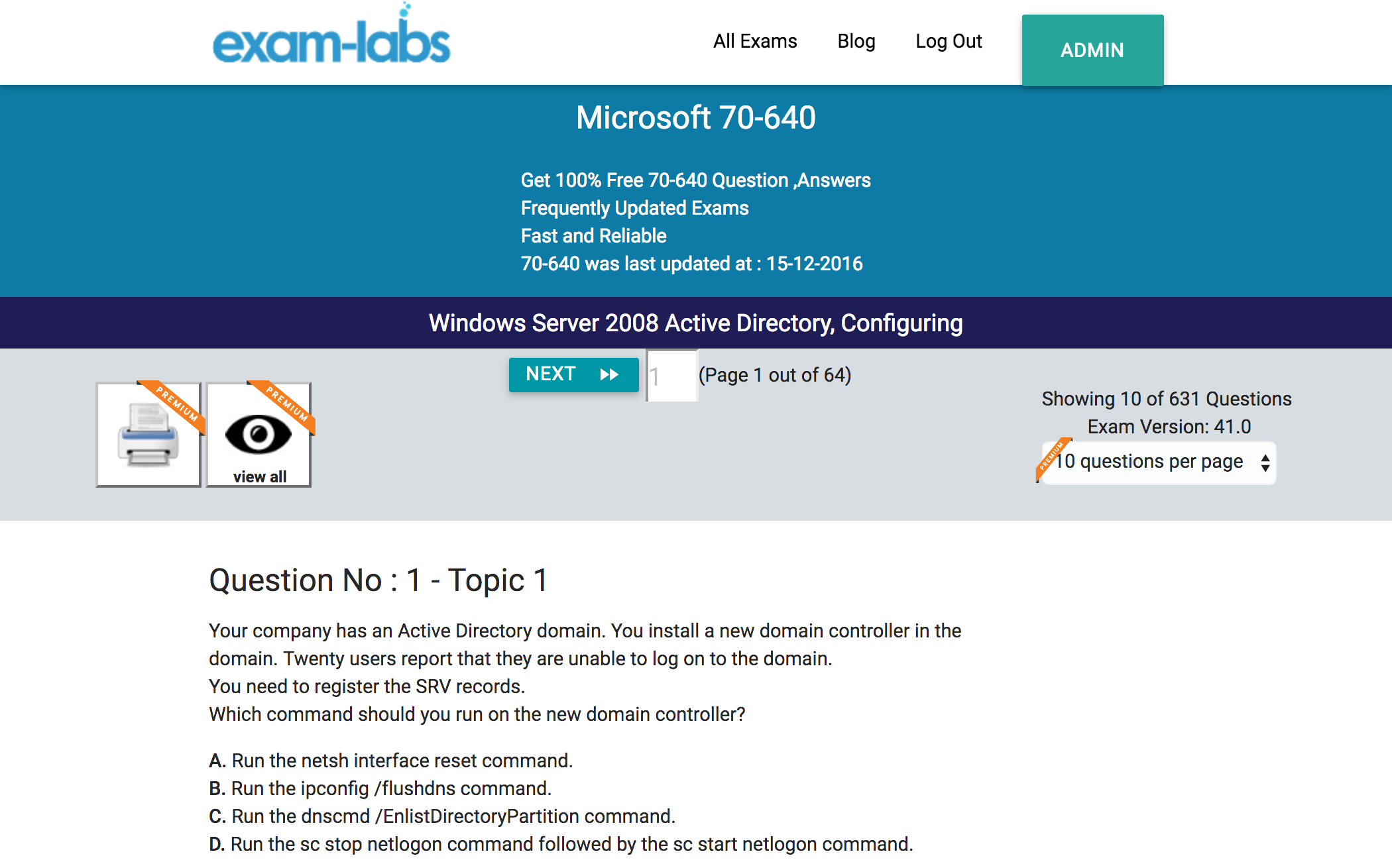 70 640 microsoft real exam questions 100 free exam labs microsoft 70 640 windows server 2008 active directory configuring exam xflitez Image collections