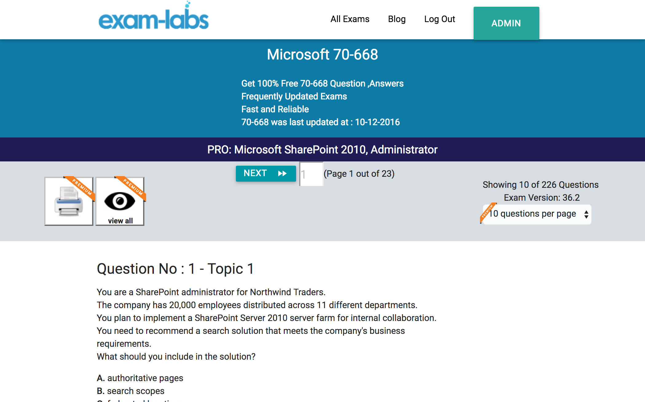 70 668 microsoft practice exam questions 100 free exam labs microsoft 70 668 pro microsoft sharepoint 2010 administrator exam 1betcityfo Choice Image