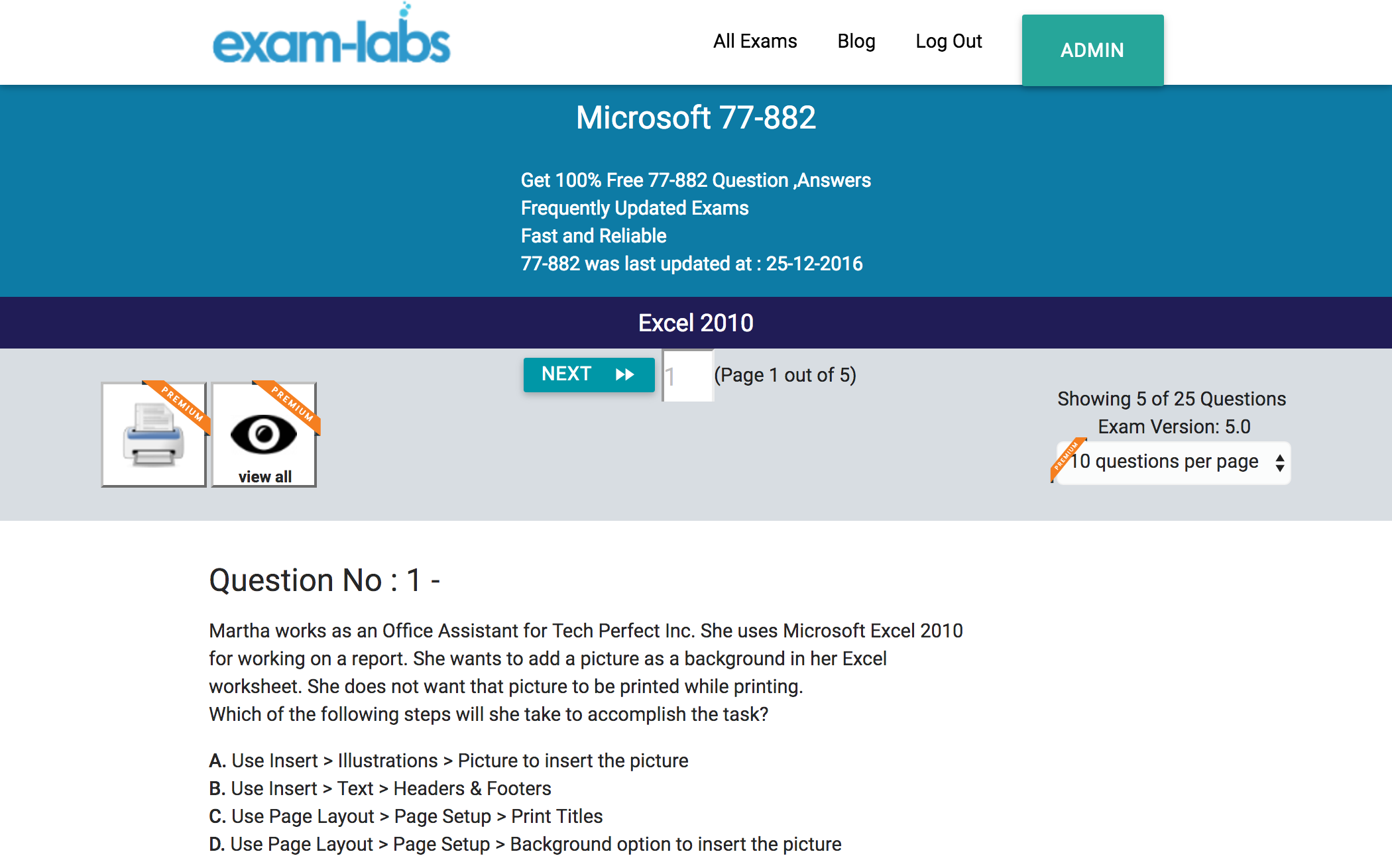 77 882 microsoft practice exam questions 100 free exam labs microsoft 77 882 excel 2010 exam 1betcityfo Gallery