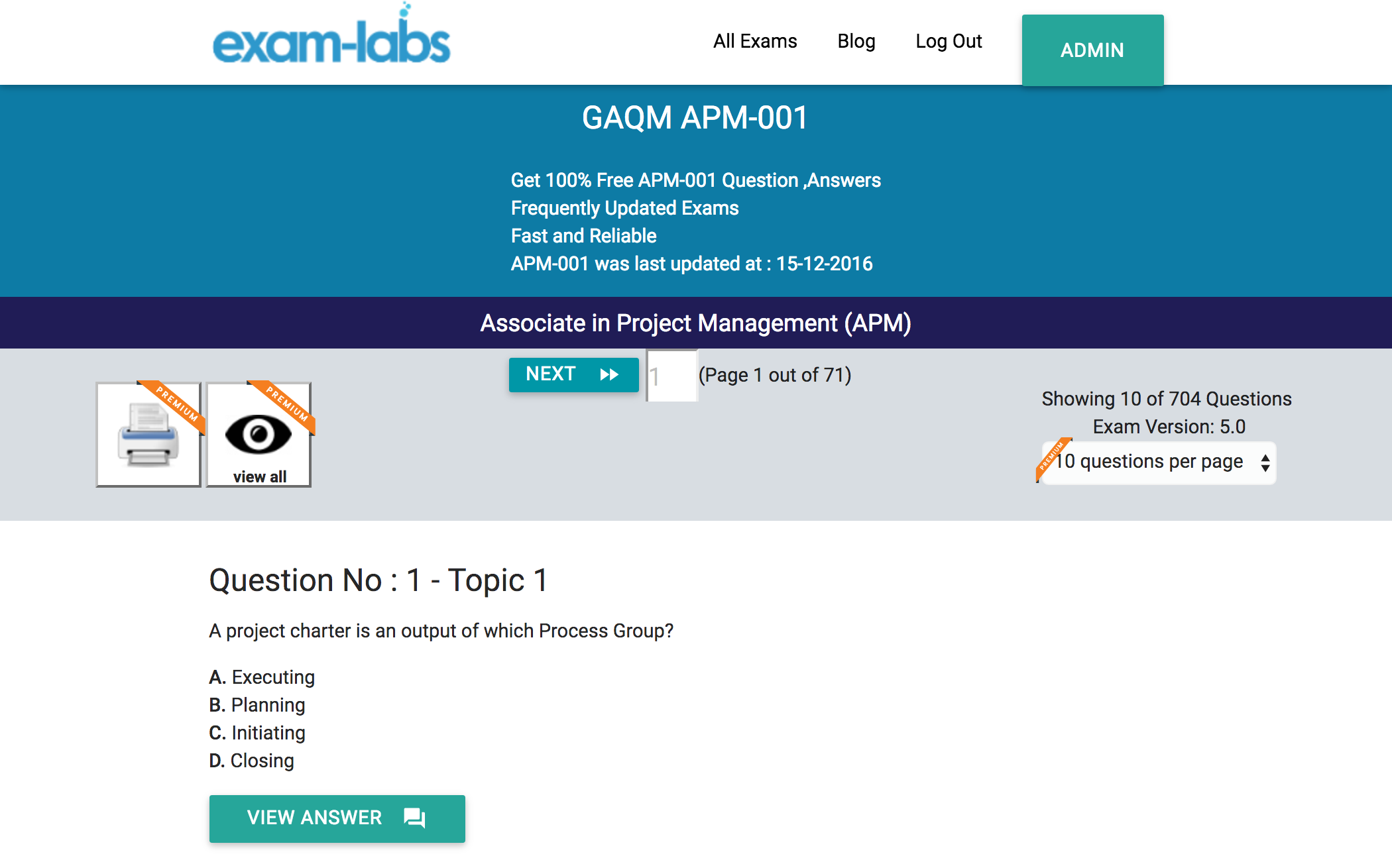 Apm certificate sample questions image collections certificate apm 001 gaqm real exam questions 100 free exam labs apm 001practiceexam1 yadclub image collections xflitez Choice Image