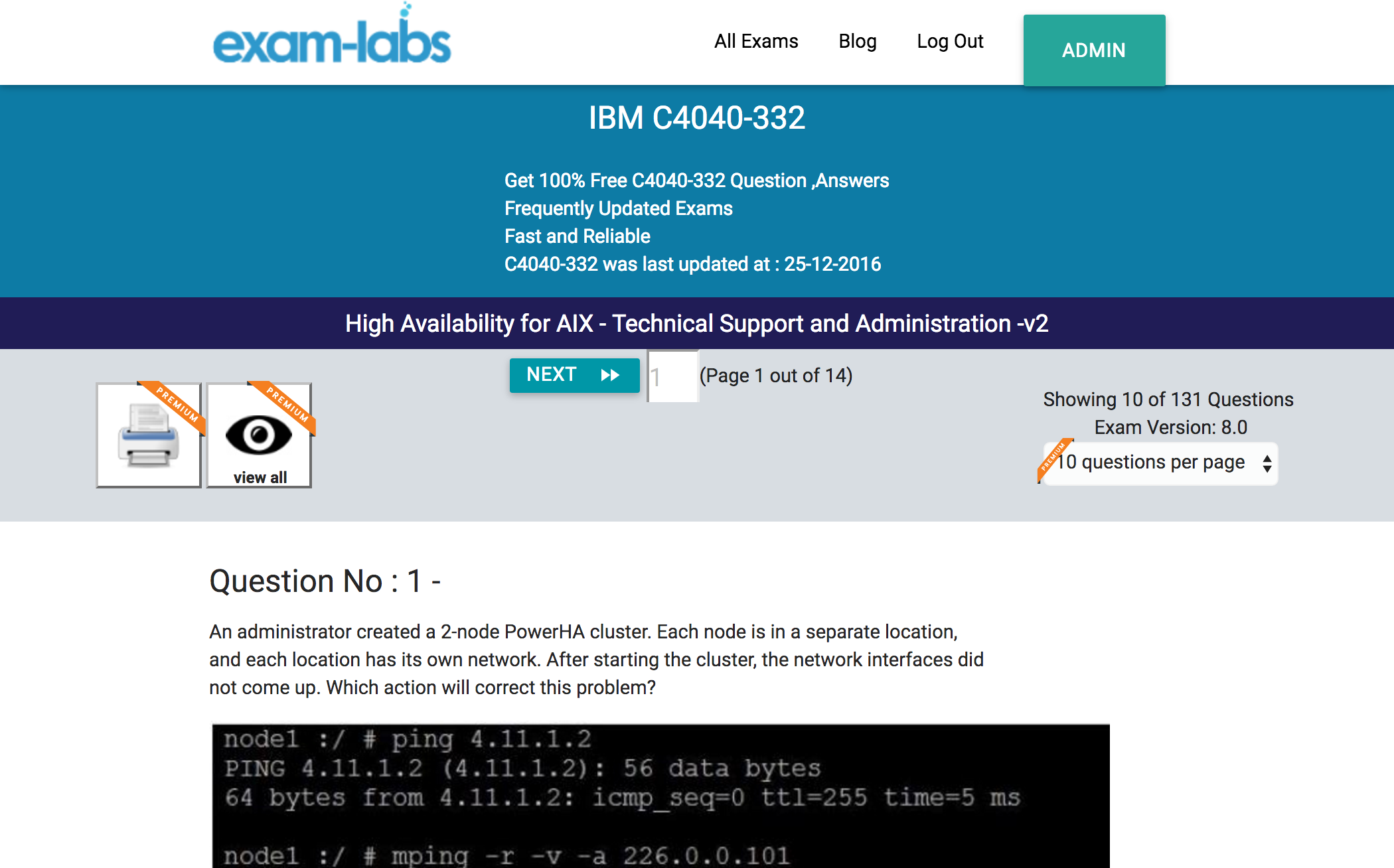 c4040 332 ibm real exam questions 100% exam labs ibm c4040 332 high availability for aix technical support and administration v2 exam
