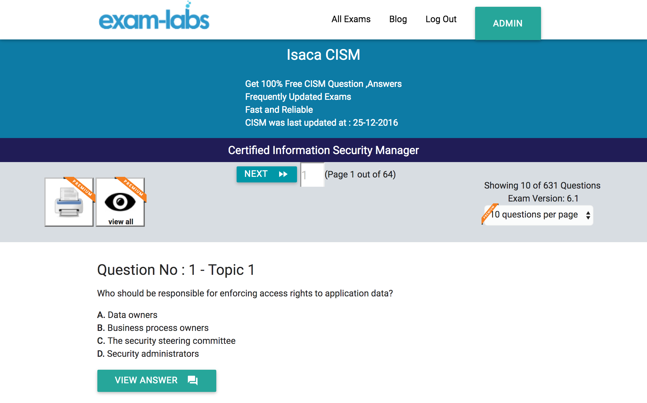 Cism isaca practice exam questions 100 free exam labs isaca cism certified information security manager exam 1betcityfo Choice Image