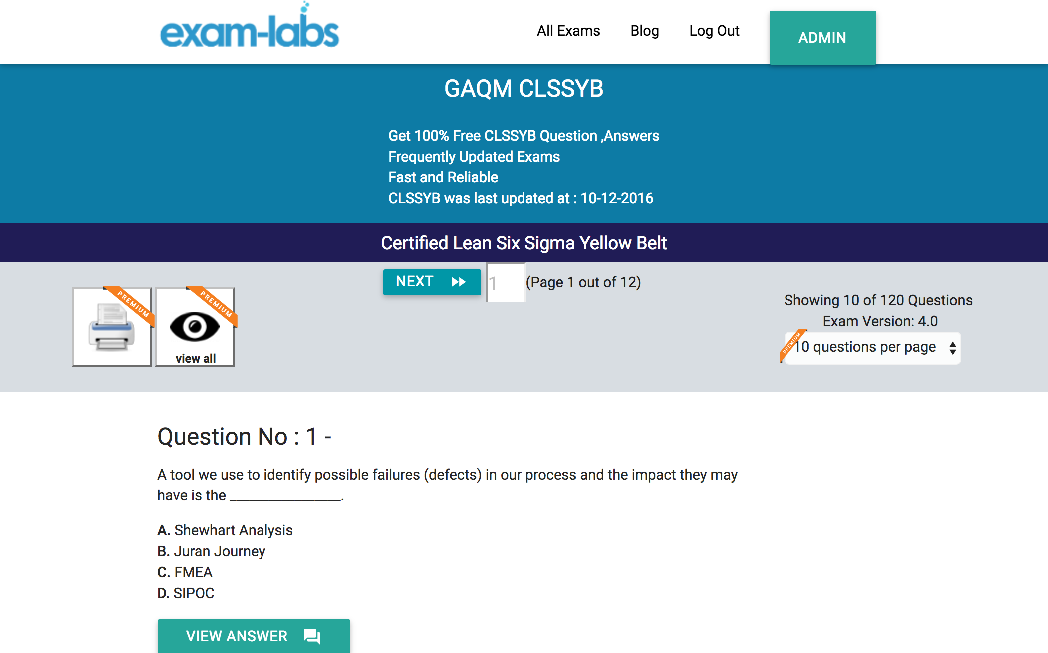 Clssyb gaqm real exam questions 100 free exam labs gaqm clssyb certified lean six sigma yellow belt exam xflitez Images