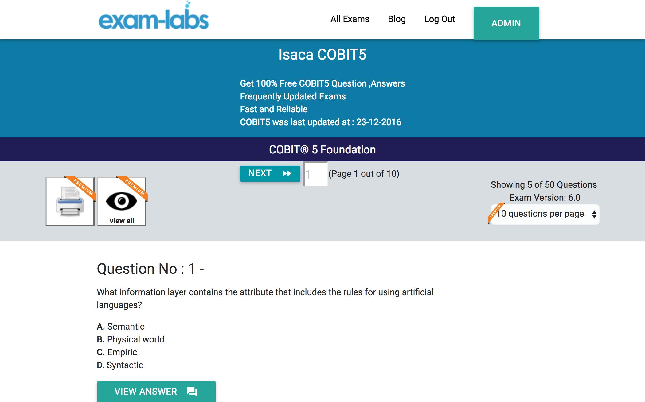 Cobit5 isaca practice exam questions 100 free exam labs isaca cobit5 cobit 5 foundation exam xflitez Gallery