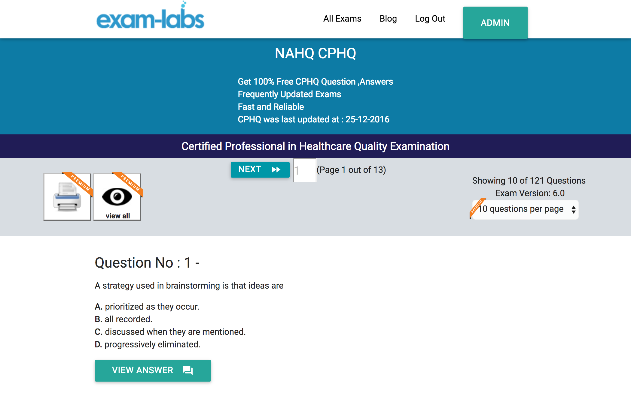 NAHQ CPHQ Certified Professional in Healthcare Quality Examination Exam