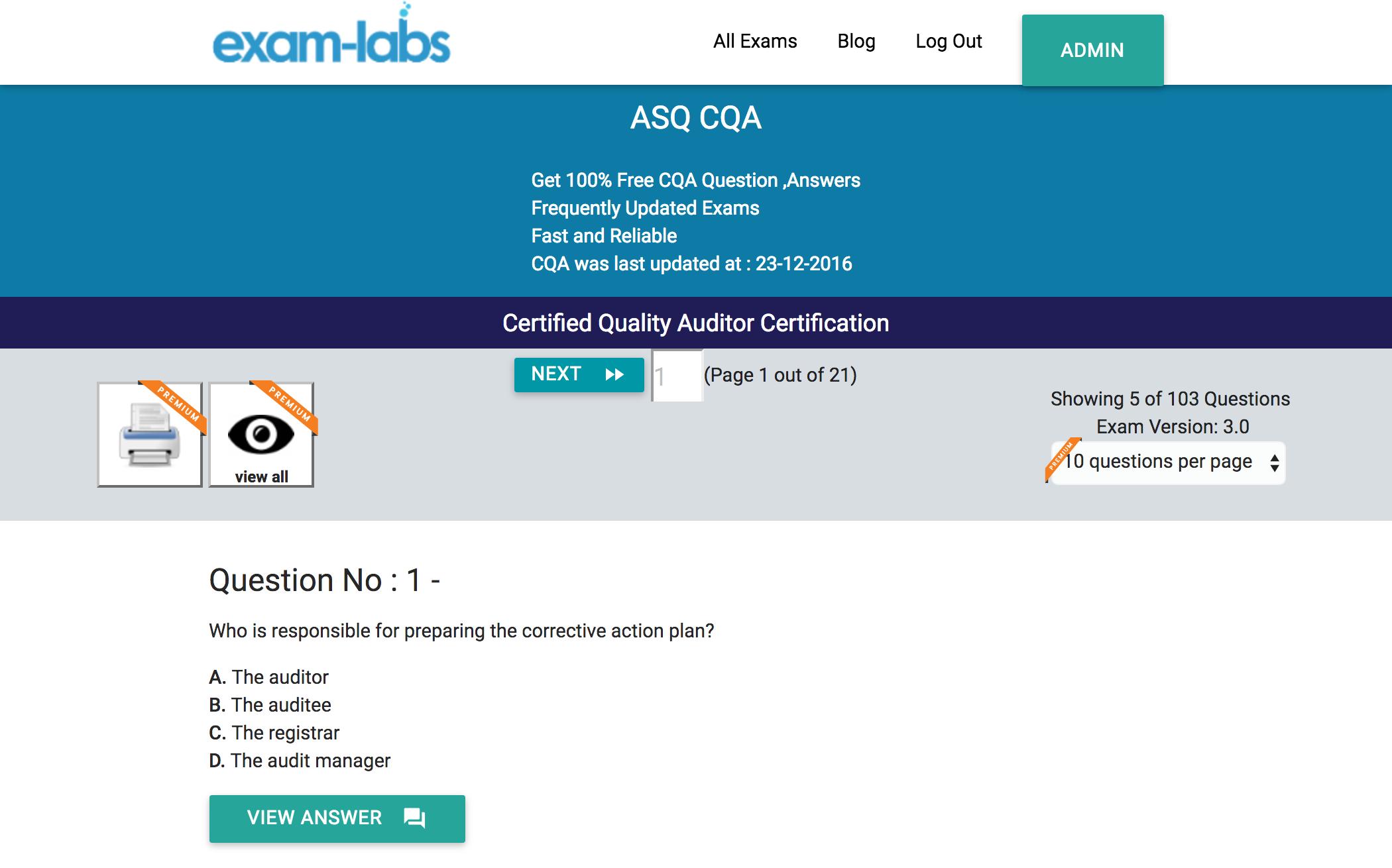 CQA - ASQ Practice Exam Questions - 100% Free | Exam-Labs