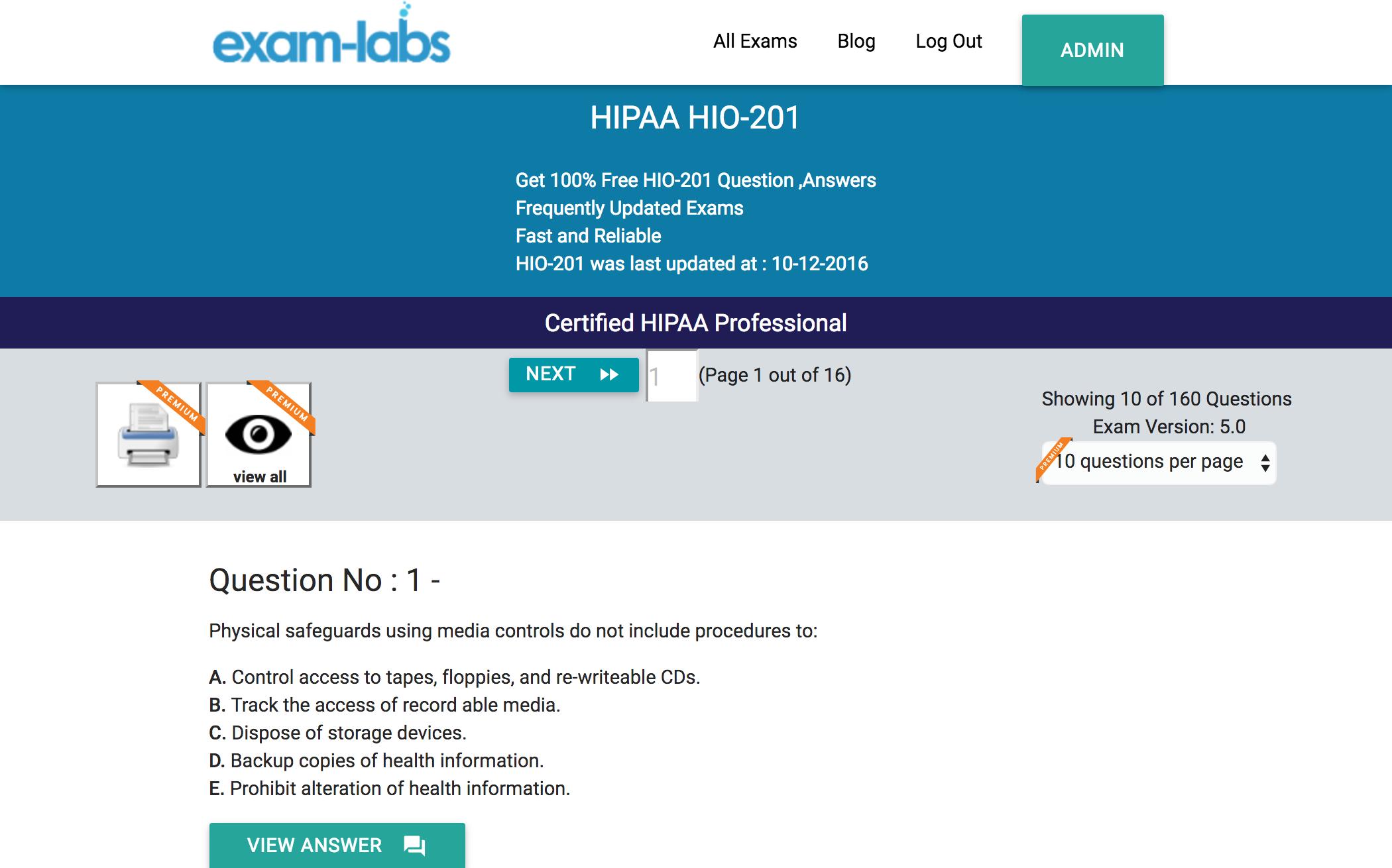 Hio 201 Hipaa Practice Exam Questions 100 Free Exam Labs