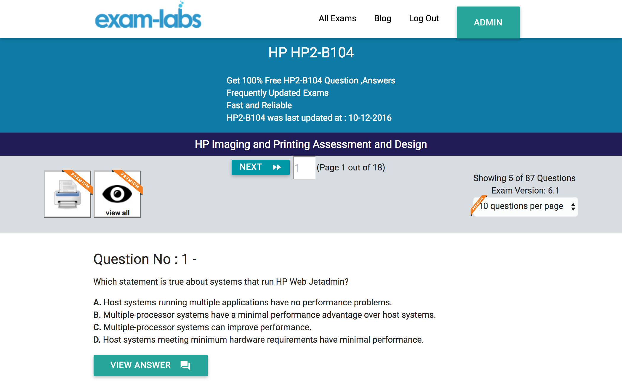 Hp2 b104 hp practice exam questions 100 free exam labs hp hp2 b104 hp imaging and printing assessment and design exam fandeluxe Choice Image