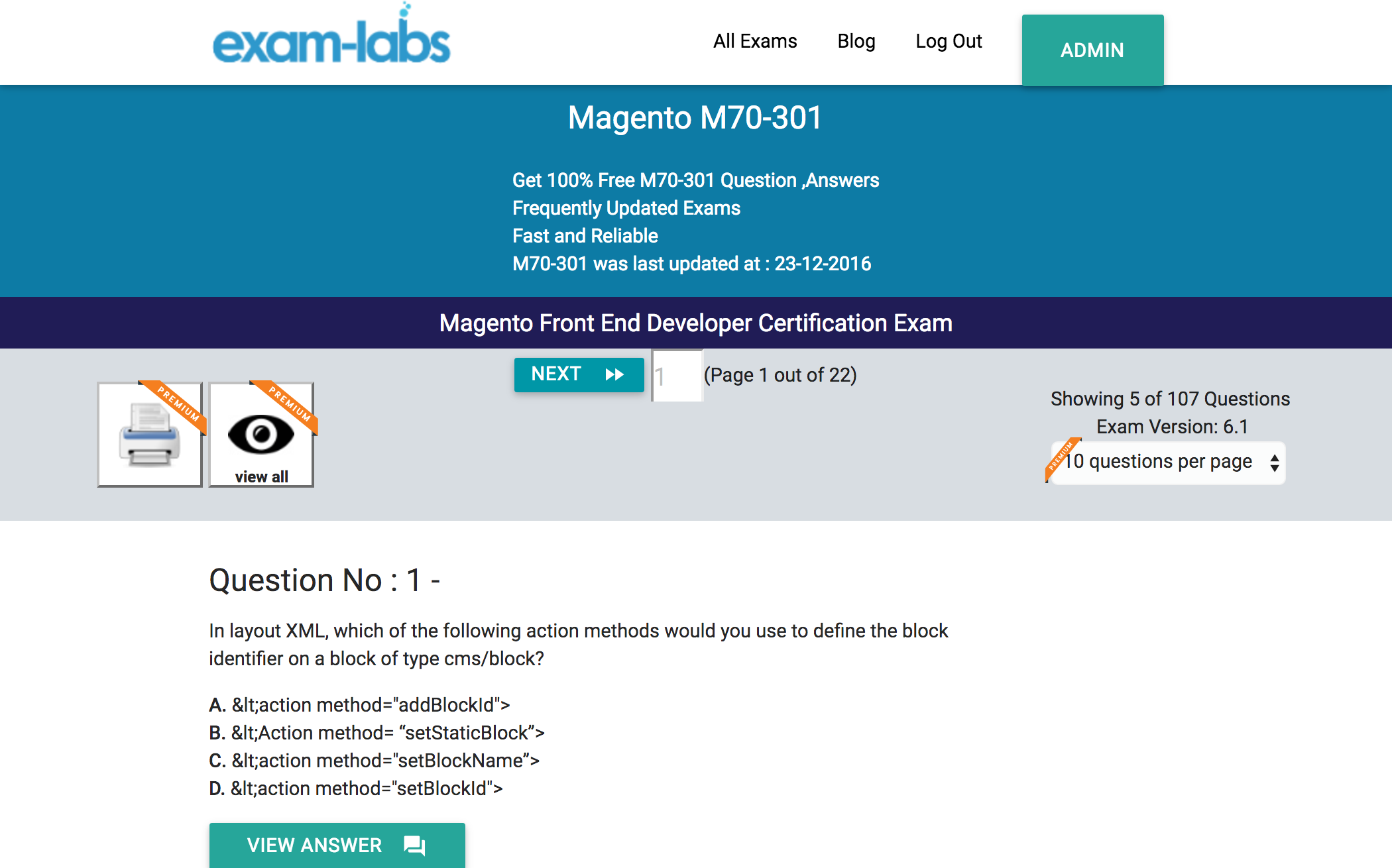 M70 301 magento practice exam questions 100 free exam labs magento m70 301 magento front end developer certification exam exam 1betcityfo Image collections