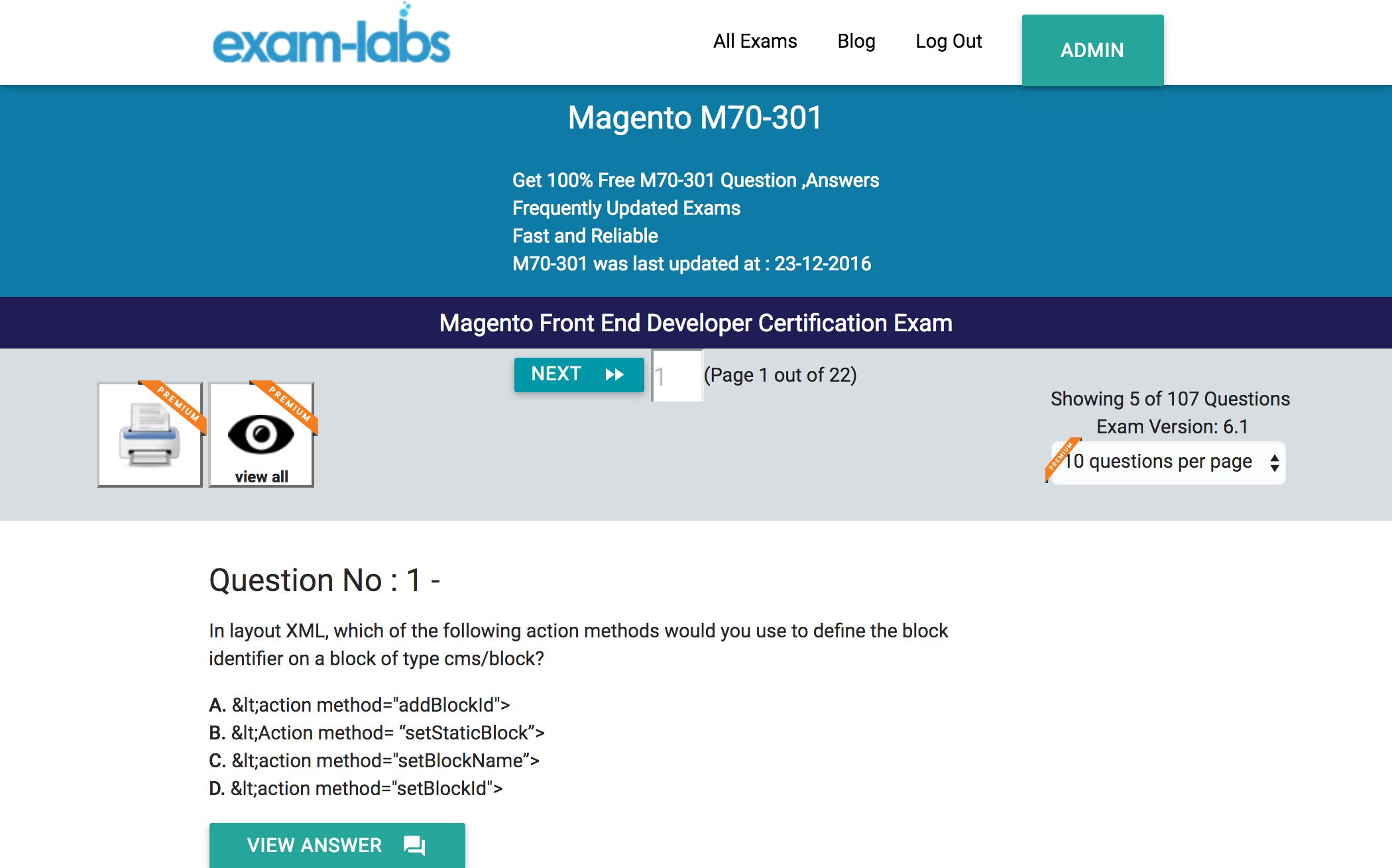 M70 301 magento practice exam questions 100 free exam labs magento m70 301 magento front end developer certification exam exam 1betcityfo Choice Image