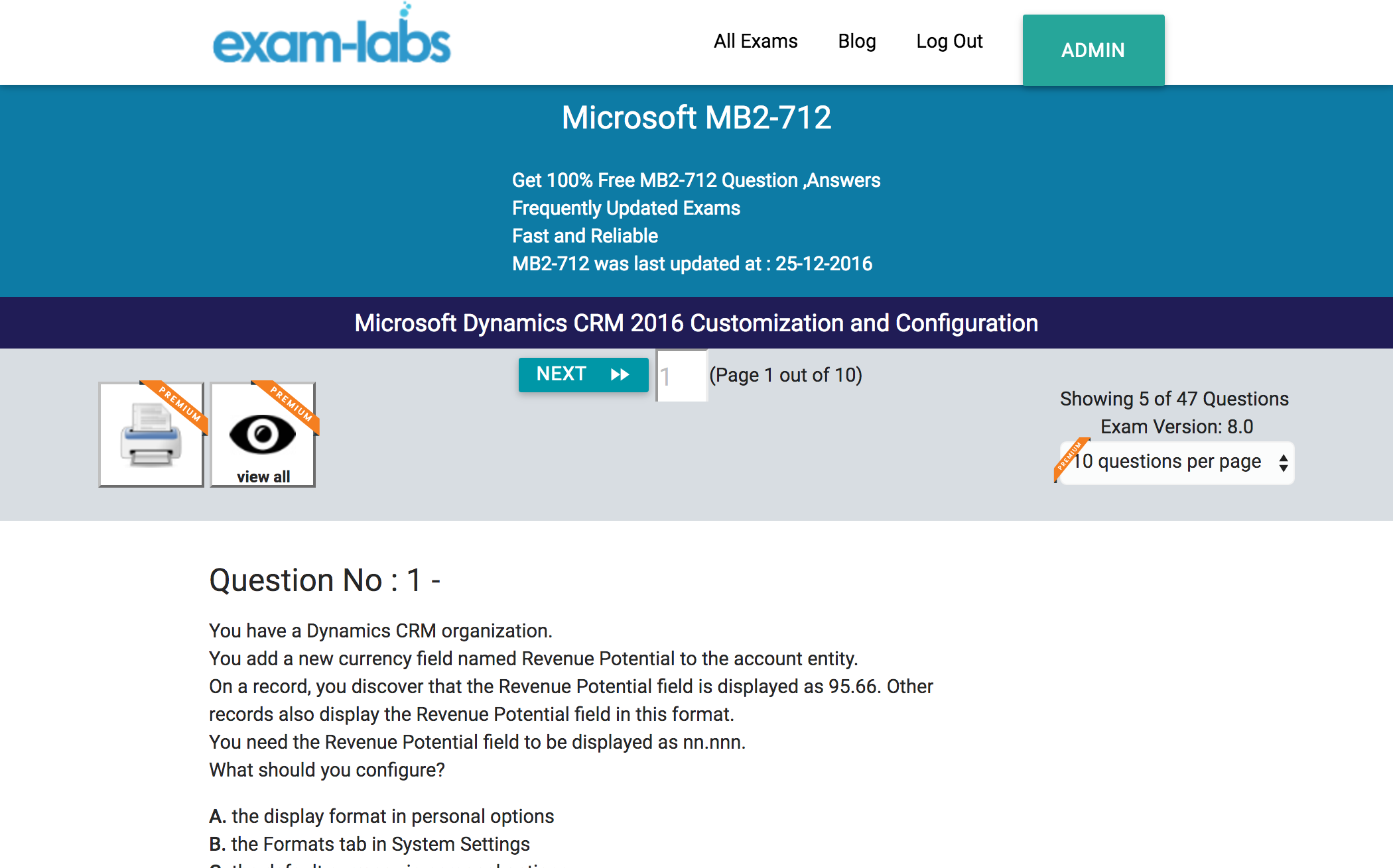 Mb2 712 microsoft practice exam questions 100 free exam labs microsoft mb2 712 microsoft dynamics crm 2016 customization and configuration exam xflitez Images