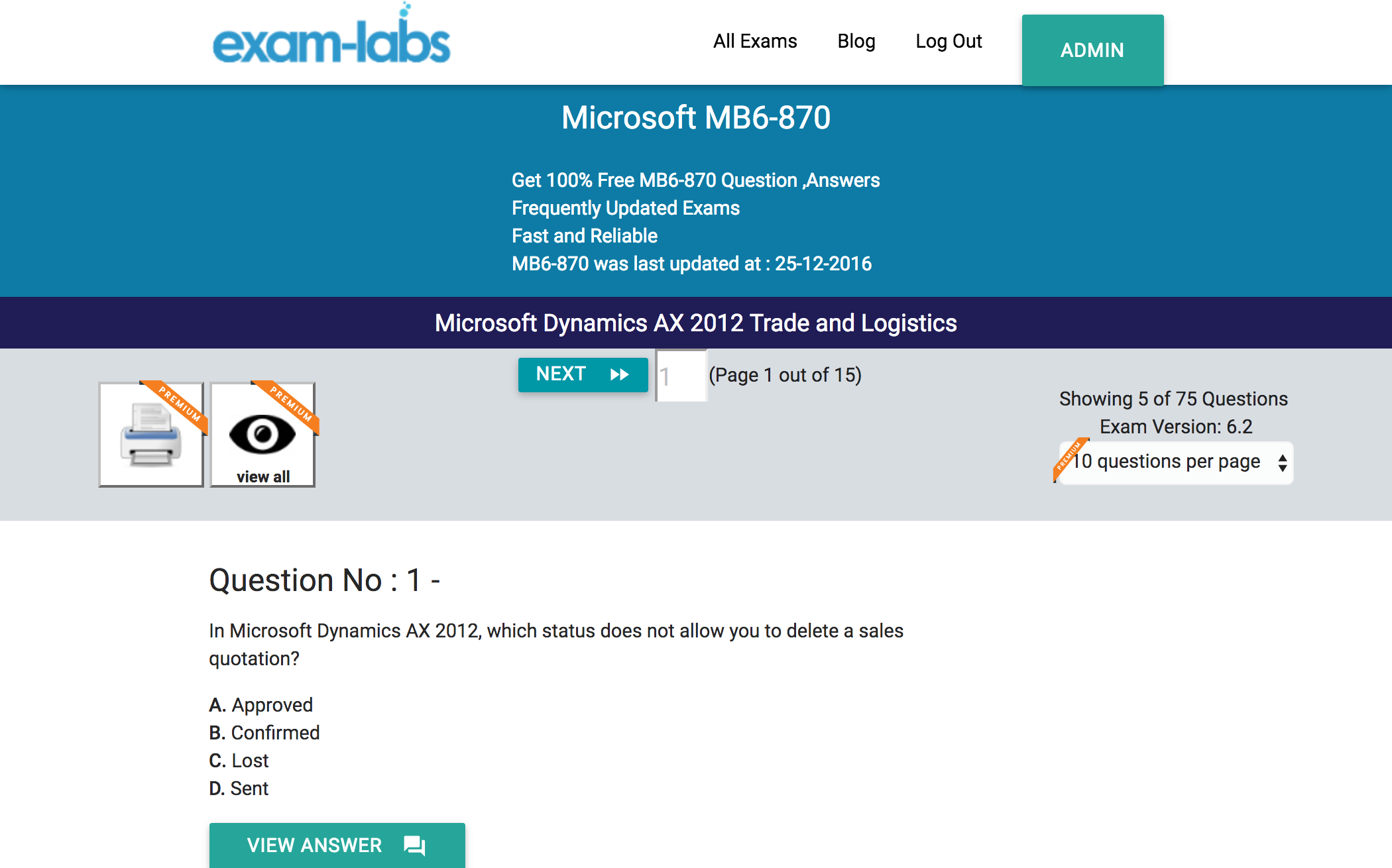 Mb6 870 microsoft practice exam questions 100 free exam labs microsoft mb6 870 microsoft dynamics ax 2012 trade and logistics exam 1betcityfo Gallery