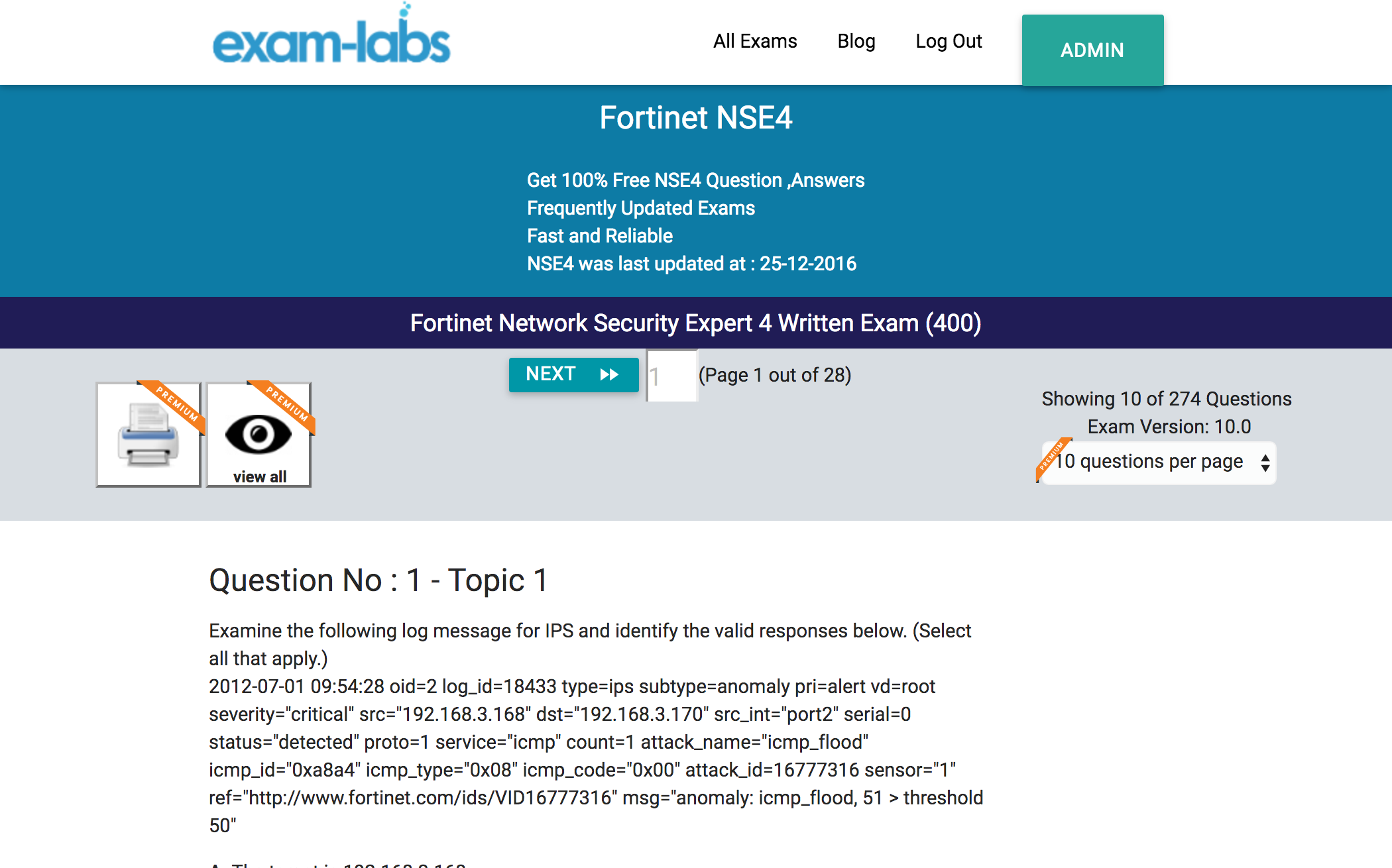 NSE4 - Fortinet Practice Exam Questions - 100% Free | Exam-Labs