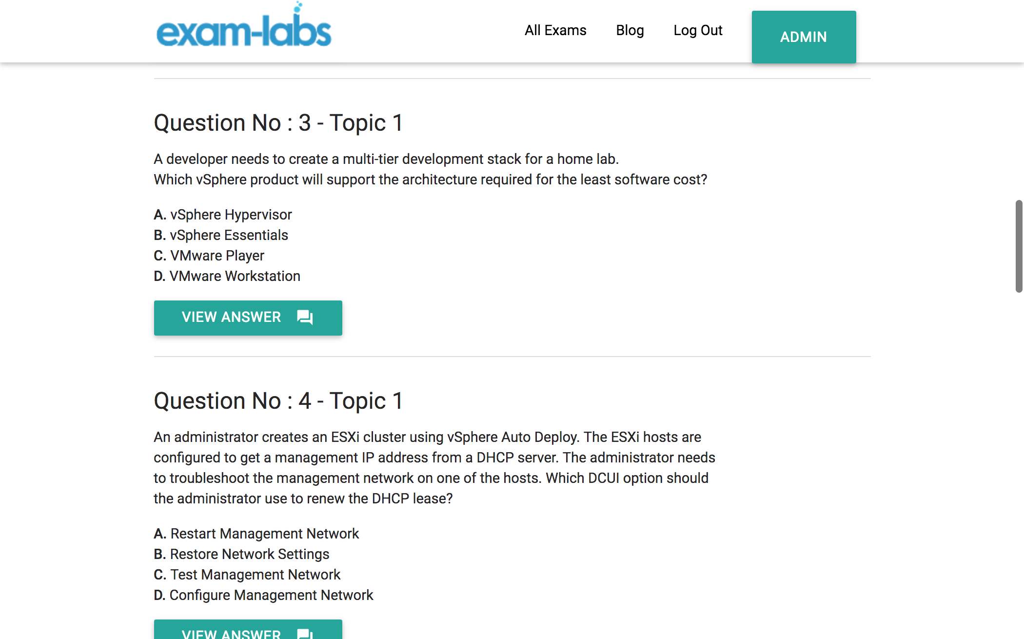 Vci550 vmware real exam questions 100 free exam labs vci550practiceexam1 vci550practiceexam2 vci550practiceexam3 xflitez Images