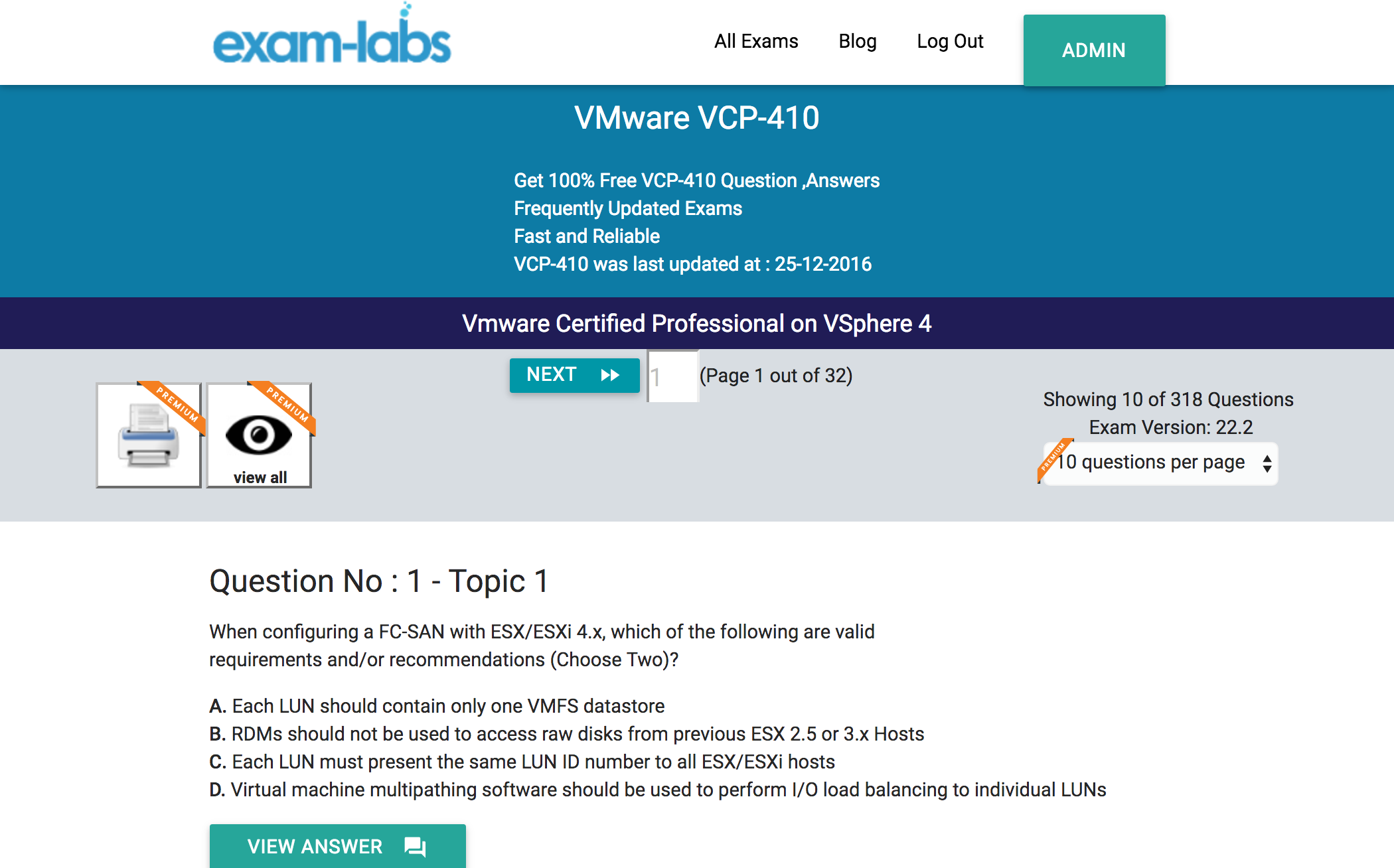 Vcp 410 vmware real exam questions 100 free exam labs vcp 410practiceexam1 xflitez Images